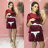 Велюровое платье для мамы и дочки с поясом и рукавом 3/4 vN3602, фото 3