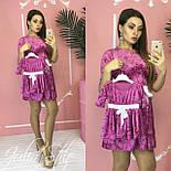 Велюровое платье для мамы и дочки с поясом и рукавом 3/4 vN3602, фото 4