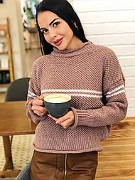 Теплый женский вязаный свитер с шерстью и полоской vN3609