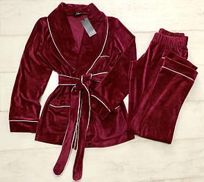 Бордовый велюровый  домашний костюм, фото 2