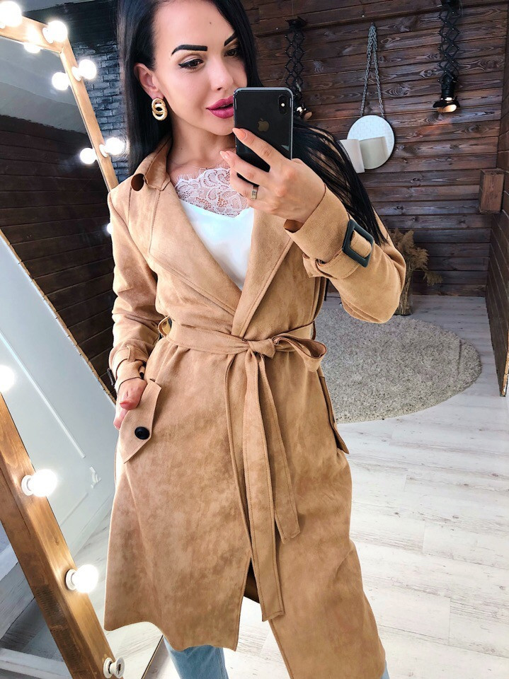 Замшевое женское легкое пальто на запах vN3616