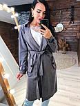 Замшевое женское легкое пальто на запах vN3616, фото 2
