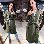 Замшевое женское легкое пальто на запах vN3616, фото 3