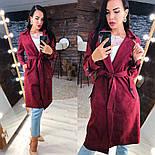 Замшевое женское легкое пальто на запах vN3616, фото 4