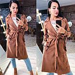 Замшевое женское легкое пальто на запах vN3616, фото 5