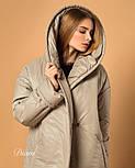 Женское плащевое пальто на кнопках с объемным капюшоном и длиной миди vN3623, фото 3