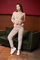Костюм вязаный женский, джемпер под горлышко с брюками, over size 44-48, цвета в ассортименте код 4066К