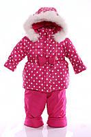 Зимний костюм Ноль Евро малиновый в горошек - 189275