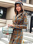 Платье - пиджак в клетку двубортное с длинным рукавом vN3637, фото 2