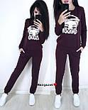 Женский повседневный костюм из двухнитки с рисунком на кофте vN3648, фото 4
