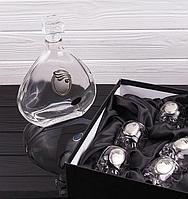 """Мужской набор """"Серебренный медальон"""" графин и 6 стопок 316-336"""