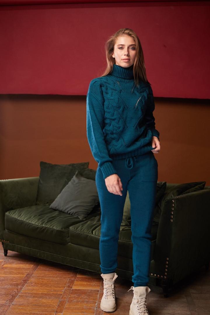 Женский вязанный костюм брючный, джемпер под горлышко с брюками, over size 44-48, цвета в ассортименте 4077К
