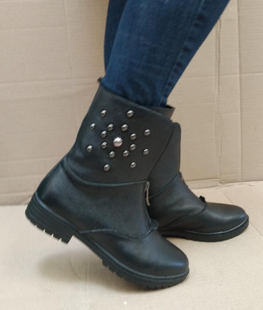 Ботинки женские кожаные на низком ходу черные