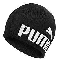 Шапка спортивная Puma ESS Big Cat Beanie 052925 15 (черная, хлопок, вязаная, теплая, зимняя, логотип пума)