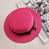 Детская шляпка соломенная розовый