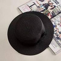 Детская шляпка соломенная черный