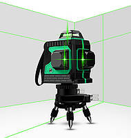 Лазерный уровень нивелир  3D MAOVON Зеленый 12 линий на 360 градусов  самовыравнивающийся нивелир