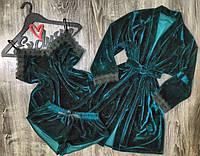 Бархатный комплект домашней одежды с хлопковым кружевом  076-изумруд..