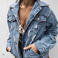 Женская джинсовая куртка рваная на пуговицах голубая, Т 0156, фото 1