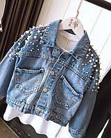 Женская джинсовая курточка укороченная с жемчугом, Т 0152