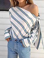 Женская блуза в полоску на одно плечо с бантом ( 2 цвета)