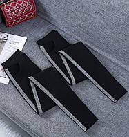 Подростковые черные лосины с лампасом и карманами