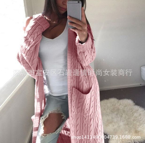 Женский длинный кардиган с карманами ( розовый)