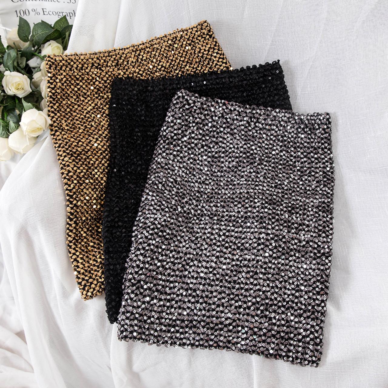 Модная юбка женская декорирована  лентой и пайетками( серебро, золото)