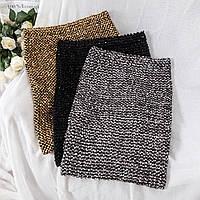 Модная юбка женская декорирована  лентой и пайетками( серебро, золото), фото 1