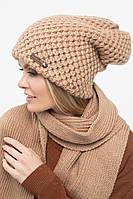 Женская вязаная зимняя теплая шапка, фото 1