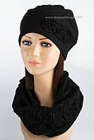 Оригинальный набор из шапки и бафа с вышивкой Муза черный