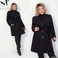 Классическое демисезонное пальто батал (черный, синий ) р: 48-50, 52-54, 56-58
