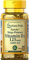 Витамины Puritan's Pride - Vitamin D3 125 мкг (5000 IU) (100 капсул)