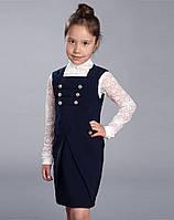 """Хлопковый школьный сарафан для школы """"Тюльпан"""" темно-синий Mevis"""