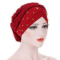 Модная чалма тюрбан украшена бусинами и косой, намотка в виде гульки красная