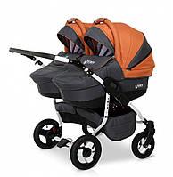 Детская универсальная коляска для двойни 2 в 1 Verdi Twin 10 граффит/оранжевый