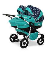 Детская универсальная коляска для двойни 2 в 1 Verdi Twin 11 синий/бирюзовый