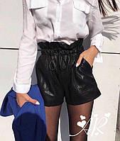 Женские кожанные шорты (эко) со шнурочком и карманами