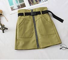 Женская короткая юбка цвет хаки с ремнем и молнией ТОП продаж
