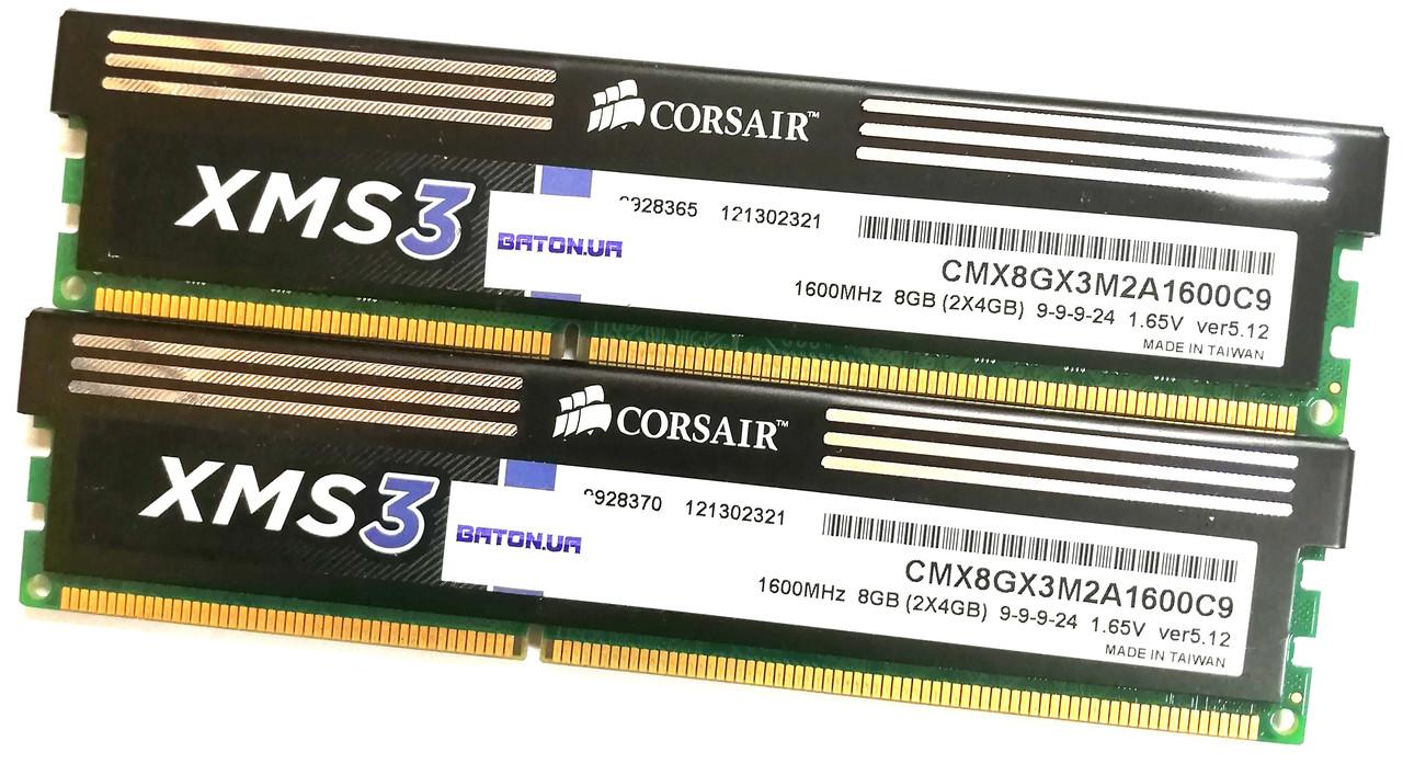 Комплект оперативной памяти Corsair DDR3 8Gb (4Gb+4Gb) 1600MHz PC3 12800U CL9 (CMX8GX3M2A1600C9) Б/У