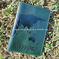 Зеленая обложка на паспорт с тиснением карта мира из глянцевой кожи