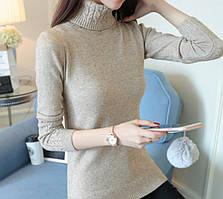 Женский свитер вязанный под горло белый и  кофейный, Т 076 кофейный