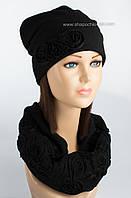 Комплект шапка и бафф с вышивкой Колпак отворот черный