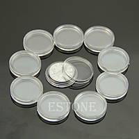 Пластиковые капсулы для монет прозрачные 23 мм набор 10 шт