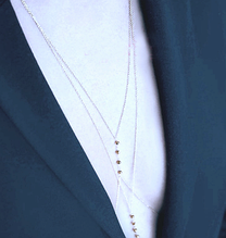 Цепочка на тело серебристая с бусинами