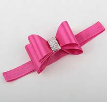 Повязка Бант на голову для девочки розовая