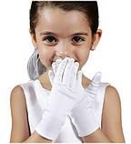 Білі рукавички для дівчаток атласні, фото 2
