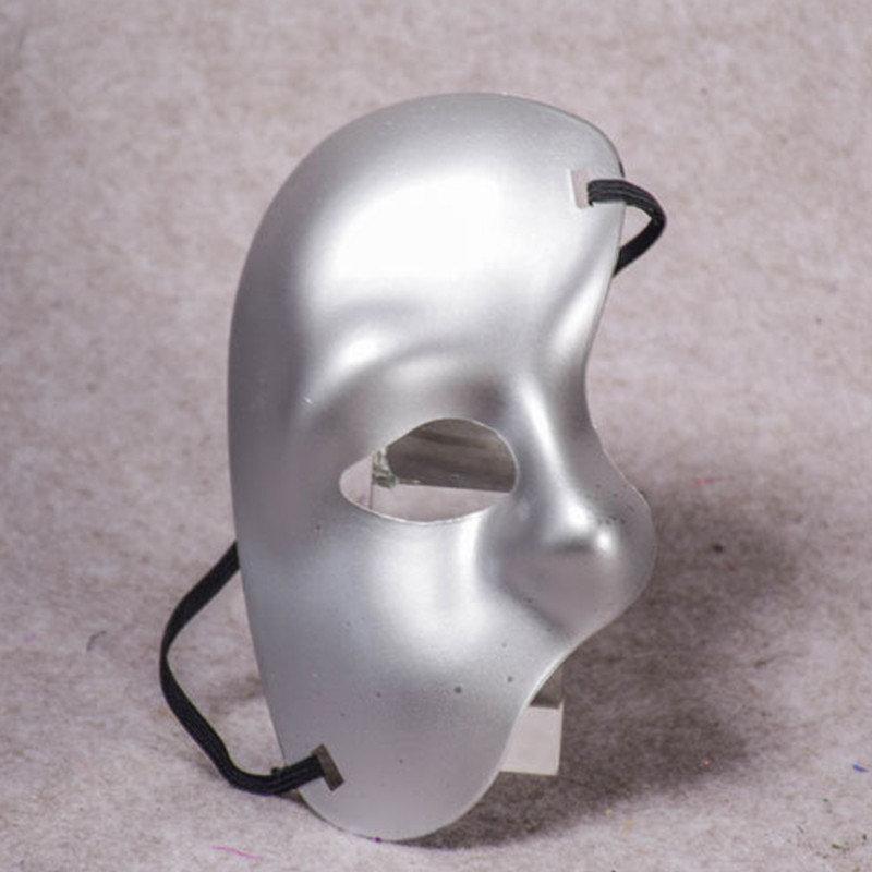 Маска на пол лица карнавальная серебристая
