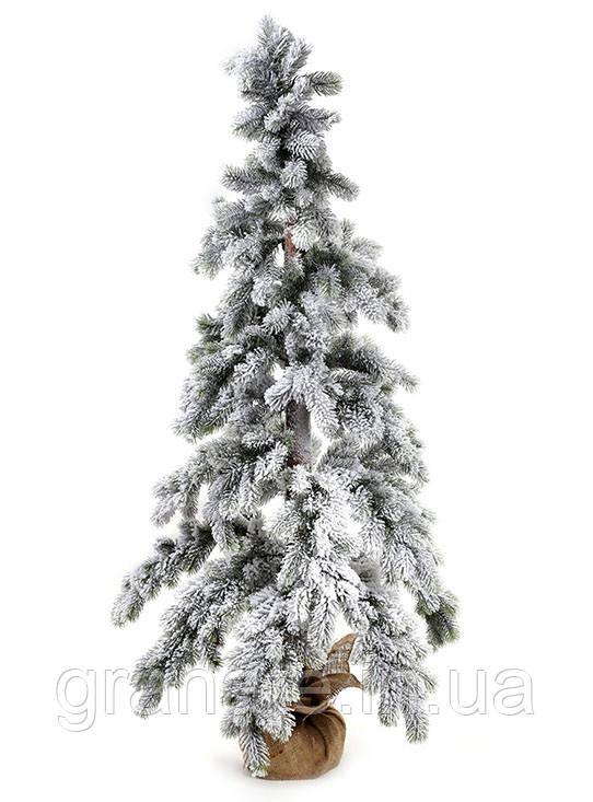 Новогодяя искусственная ель, заснеженная в джутовом мешочке 150 см