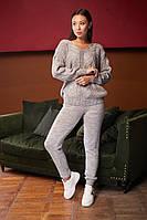 Женский вязанный костюм двойка, брючный, джемпер с брюками, over size 44-48, цвета в ассортименте код 4081К, фото 1